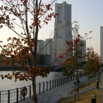 Landmark tower viewed from Shinkou-bashi